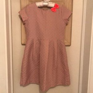 Girls Carter's dress polka dot taupe coral size 6